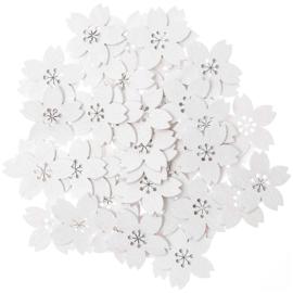 Rico houten witte bloemetjes 25x25mm ±48stuks
