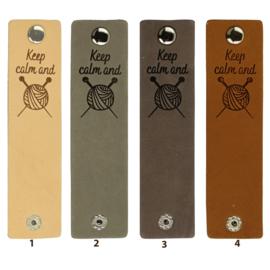 Durable Rechthoekige leren labels met drukknoop van 12 x 3 cm - Keep Calm and Knit per 2 stuks