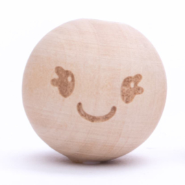 Houten kraal -Smiley Cute-   20 mm