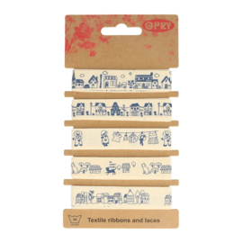 Opry Band 15mm Blauw/Ecru Huisjes 5 x 1meter