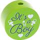 Houten kraal ''It's a Boy'' lichtgroen ''babyproof''