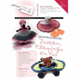 Patroonboekje Knuffeldoekjes zwaan, flamingo en vos