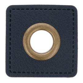 Nestel op donkerblauw Skai-leer vierkant 8mm brons
