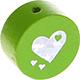 Houten kraal hart lichtgroen ''babyproof''