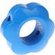 Houten bloemkraal middenblauw  ''babyproof''