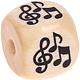 Houten Letterkraal gegraveerd 10mm -muzieknoten-