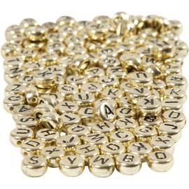Letterkralen, afm 7 mm, gatgrootte 1,2 mm, goud met zwarte opdruk
