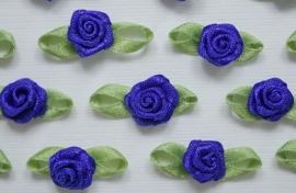 Satijnen roosje met blaadjes Cobalt Blauw