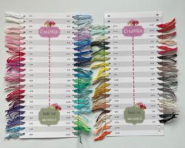 Staalkaart - kleurenkaart Durable Coral - 86 kleurtjes met draadjes!