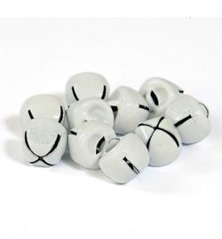 Kerstbelletjes wit  12mm - 10 stuks