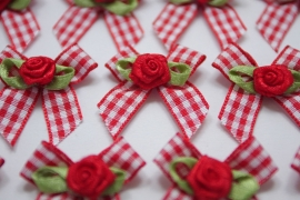 Leuk strikje rood geblokt met satijnen roosje