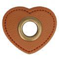 Nestel op bruin Skai-Leer 11mm brons hartje