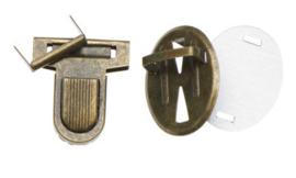 Metalen tas sluiting bronskleurig ca. 32x38