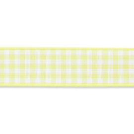 Geruit lint - vicky 10mm Licht Neongeel