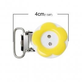 Speenclip rond  20 mm Bloem Geel