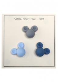Go Handmade Siliconen kralen Micky 25x20mm - mix blauw 3 kralen