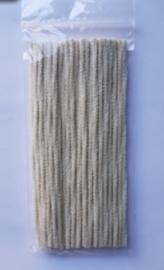 Pijpenragers  chenille ecru 17cm +/-  50 stuks