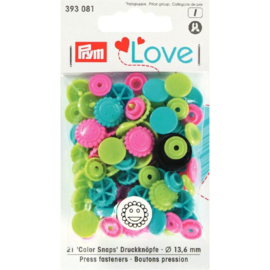 Color snaps -  Prym Love color bloem 13,6mm blauw, groen en roze