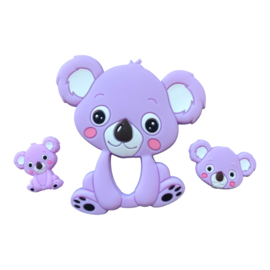 Siliconen bijtring - speenkoord ring Koala - Lila
