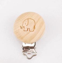 Houten speenclip houtkleurig blank met olifantje