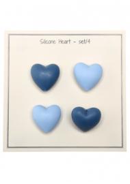 Go Handmade Siliconen kralen Hartje 25x20mm - mixblauw 4 kralen