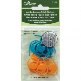 Clover Jumbo  stitch markers, steekmarkeerders 12 stuks