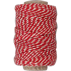 Gestreept katoen koord 1,1mm rood/wit