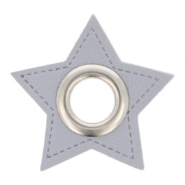 Nestel op grijs Skai-leer ster 8mm zilver