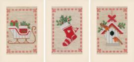 Wenskaart Kerstmotiefjes set van 3