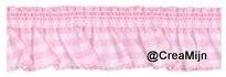 Rimpel Elastiek Roze ruitje  19 mm, de mooie kwaliteit!