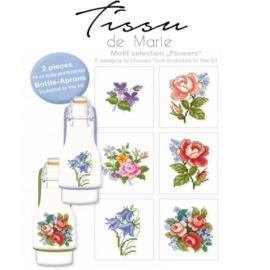 Flessenschort borduurpakket Tissu de marie - Rozen