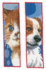 Bladwijzer hond en poesje aida set van 2