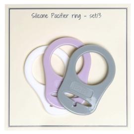 Siliconen Pacifier-Ring  (grijs/lavender set van 3) Go Handmade