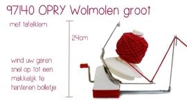 Wolmolen Opry groot met tafelklem 24cm