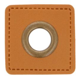 Nestel op cognac Skai-leer vierkant 11mm brons