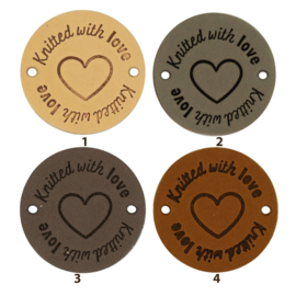 Durable Leren labels rond 3,5cm - Knitted with Love per 2 stuks