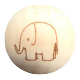 Houten kraal met Olifant boring verticaal 20 mm