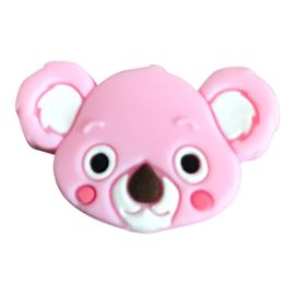 Siliconen kraal Koala hoofd - Roze
