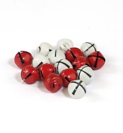 Kerstbelletjes wit en rood 10mm -12 stuks