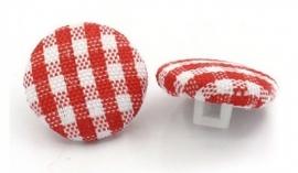 Knoopje met geblokt stofje 14 mm Rood