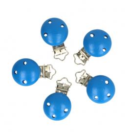 5 kleine houten speenclips Opry  Korenblauw