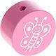 Houten kraal vlinder roze ''babyproof''