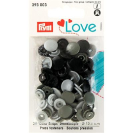 Kamsnaps Prym Love color rond 12,4mm zilver, antraciet en zwart