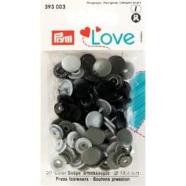 Kamsnaps Prym Love color rond 12,4mm zilver, antraciet en zwart