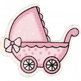 Houten kinderwagen  Roze decoratie 10 stuks