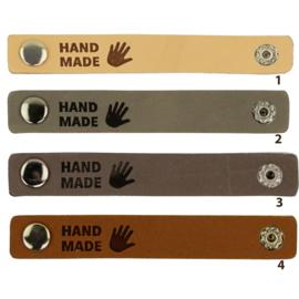 Durable leren label bandje met drukknoop van 10 x 1,5 cm - Handmade per 2 stuks
