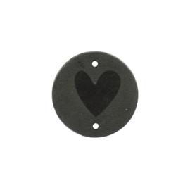 Leren label Round Hart 3cm antraciet