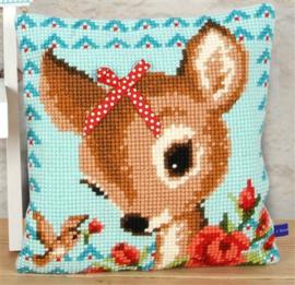 Kruissteek pakket kussen Bambi met strikje