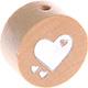 Houten kraal hart blank ''babyproof''