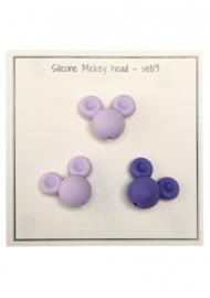Go Handmade Siliconen kralen Micky 25x20mm - mix Purple 3 kralen